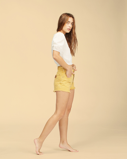 2 Wrangler Showdown - Short en jean taille haute pour Femme Jaune Z3WK04BIF1 Billabong