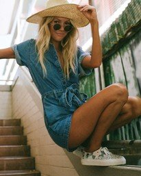 Salty Blonde Date Nite - Short Sleeve Denim Playsuit for Women  U3WK31BIF0