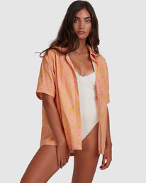 Summer Sun Button Thru - Oversized Short Sleeve Shirt for Women  W3TP27BIP1
