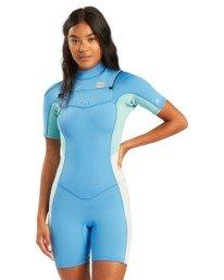 2/2mm Synergy - Short Sleeve Chest Zip Springsuit for Women  W42G59BIP1
