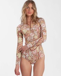 Salty Blonde Back Then Salty Dayz - 2mm Chest Zip Long Sleeve Springsuit for Women  X42G04BIS1