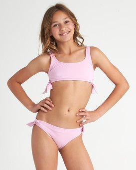 Sunset Glow Hky Tie - Solid Bikini Set for Teen Girls  S8SW04BIP0