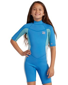 2/2mm Synergy - Short Sleeve Back Zip Springsuit for Girls  W42B60BIP1