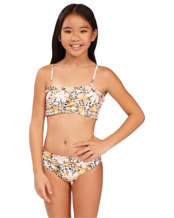 0 Girls 6-14 Sweet Dreams Reversible Bandeau Bikini Grey 5513706 Billabong