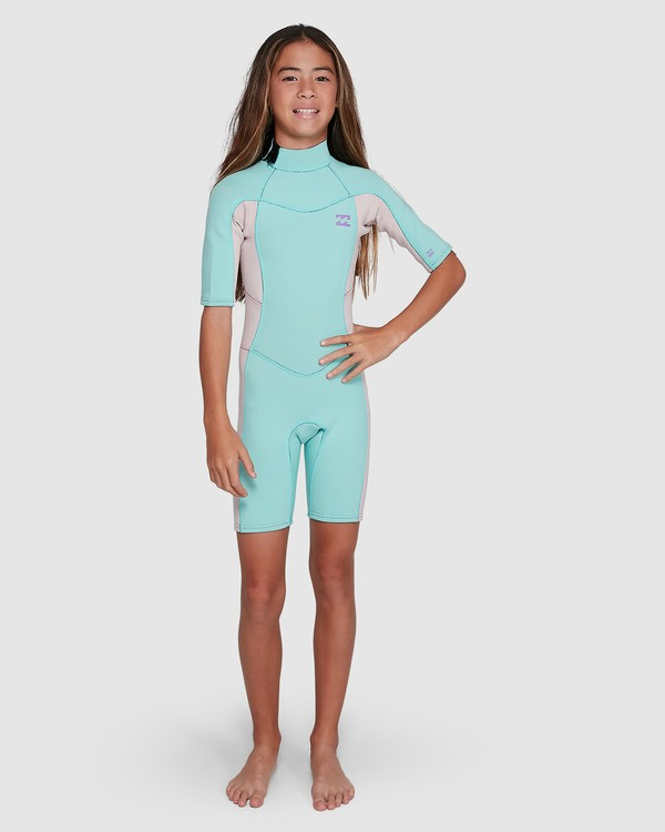 0 202 Teen Synergy Back Zip Short Sleeve FL Springsuit Blue 5703400 Billabong