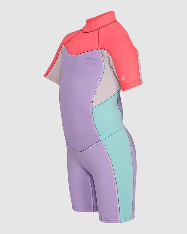 0 2/2 Toddler Synergy Flat Lock Back Zip Short Sleeve Springsuit Purple 5703405 Billabong