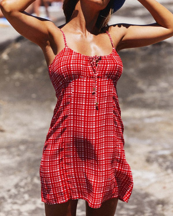 0 Git It Gingham Dress - Steph Claire Smith Red 6504506 Billabong