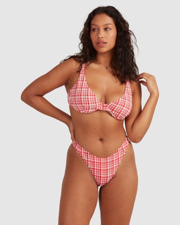 0 Get It Gingham Bra Bikini Top - Steph Claire Smith Red 6504915 Billabong
