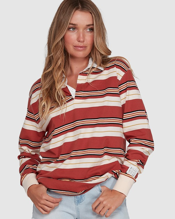 0 Double Up Rugby Long Sleeve Top Brown 6507143X Billabong