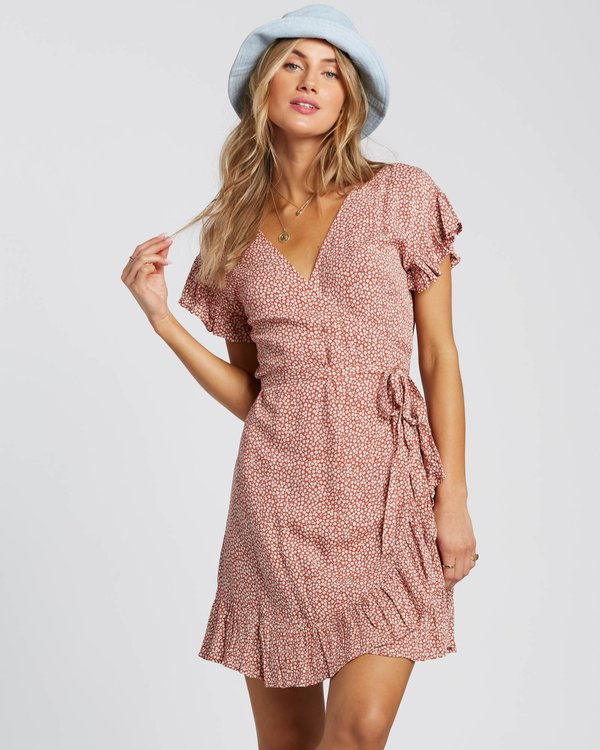0 Wrap And Roll Dress Red 6507544X Billabong