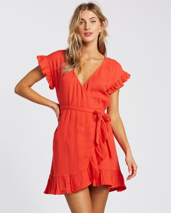 0 Wrap It Up Dress Red 6508494 Billabong
