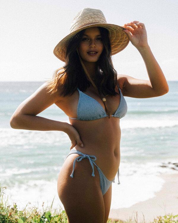 0 Wrangler Down With Denim Slide Triangle Bikini Top Beige 6513814 Billabong