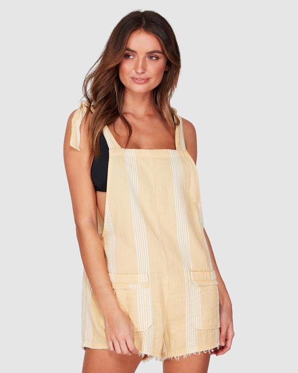 0 Girl On The Run Stripe Jumpsuit Yellow 6592151 Billabong