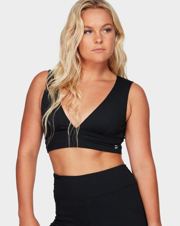 0 Plunging Sports Bra Top Black 6595923X Billabong