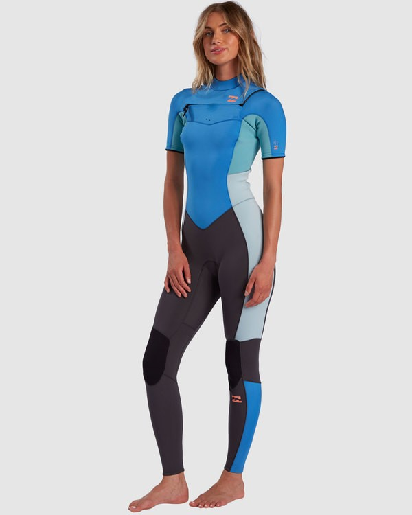 0 2/2 Synergy Chest Zip Short Sleeve Fullsuit Blue 6717610 Billabong