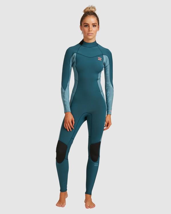 0 3/2 Synergy Back Zip Long Sleeve Flatlock Fullsuit Blue 6717700 Billabong