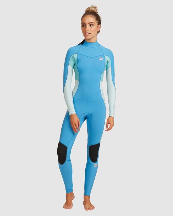 0 3/2 Synergy Back Zip Steamer Wetsuit Blue 6717810 Billabong