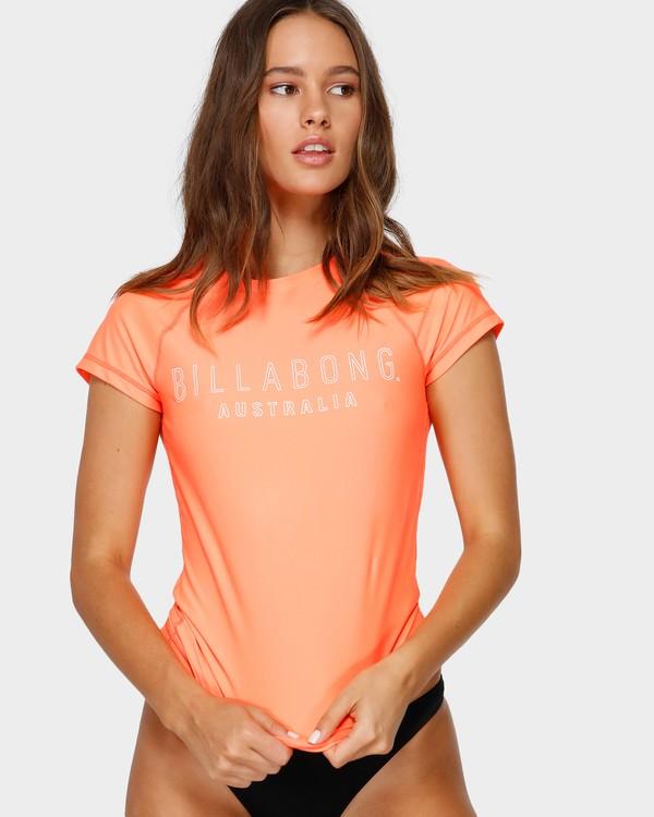0 Mighty Fine Short Sleeve Rash Vest Orange 6781001 Billabong