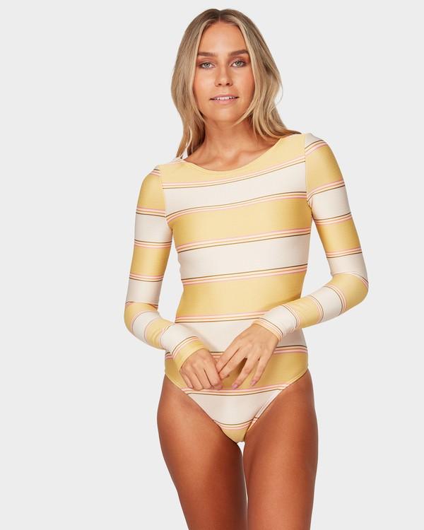 0 Tanlines Stripe Bodysuit Beige 6792007 Billabong