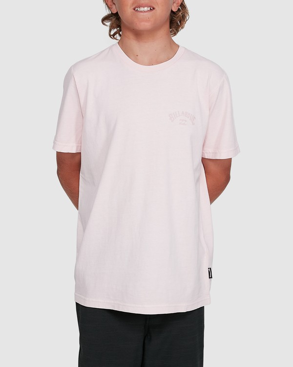 0 Boys Arch Overdye Short Sleeve Tee Pink 8503029 Billabong