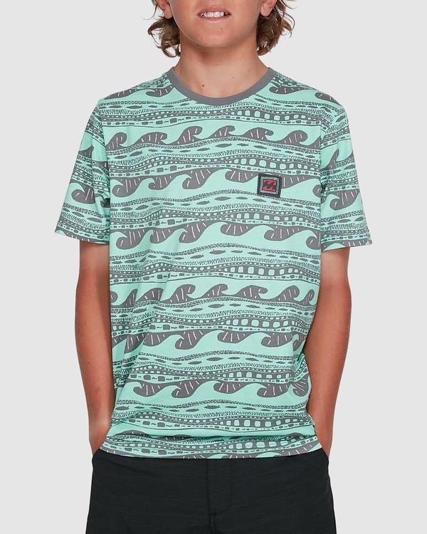 0 Boys Rack Stripe Short Sleeve Tee Green 8503030 Billabong