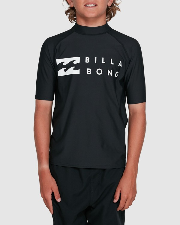0 Boys Union Regular Fit Short Sleeve Rash Vest Black 8703000 Billabong