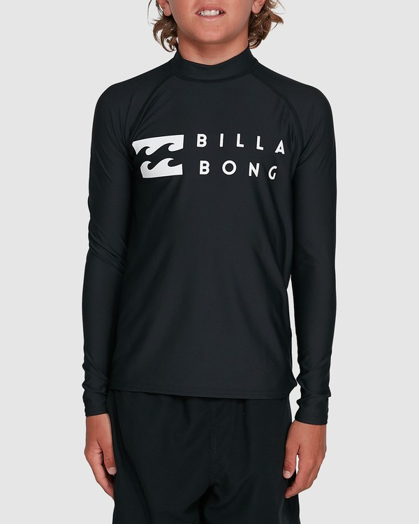 0 Boys Union Regular Fit Long Sleeve Rash Vest Black 8703001 Billabong