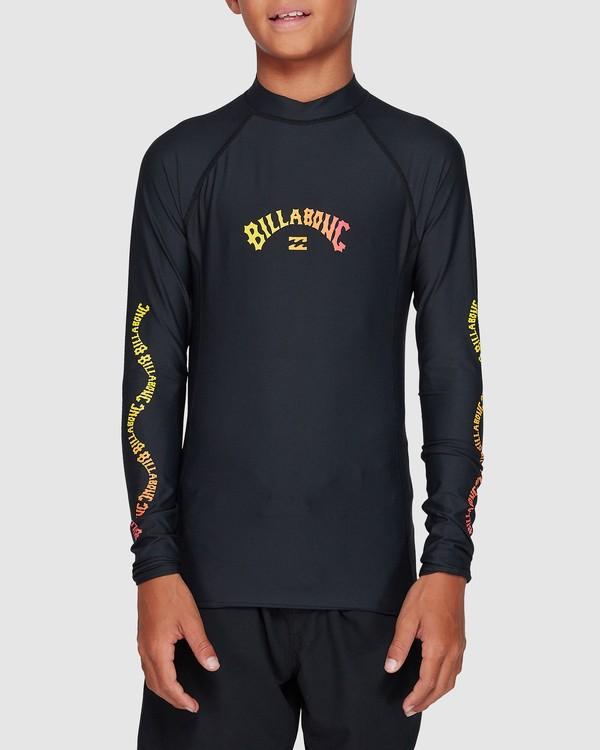 0 Boys Arch Link Performance Fit Long Sleeve Rashie Black 8707508 Billabong