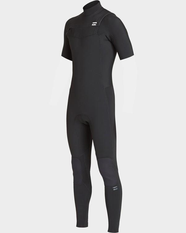 0 Boys 2/2 Revolution Chest Zip Short Sleeve Fullsuit Black 8707620 Billabong