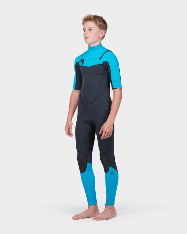 0 Teen Absolute Comp Short Sleeve 202 Chest Zip Suit Green 8773618 Billabong