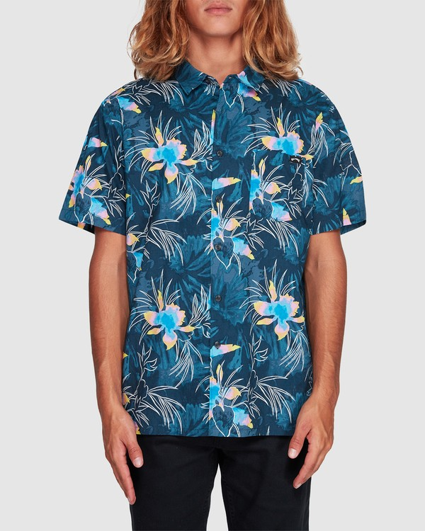 0 Sundays Floral Short Sleeve Shirt Blue 9507202 Billabong