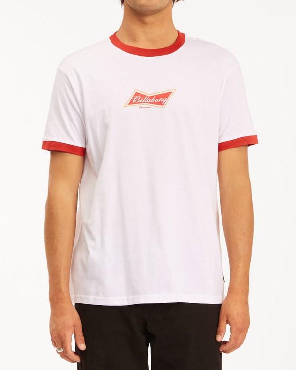 0 Budweiser Bow Ringer Short Sleeve T-Shirt White 9513009 Billabong