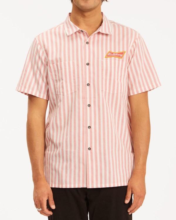 0 Budweiser Bow Stripe Short Sleeve Shirt Red 9513215 Billabong