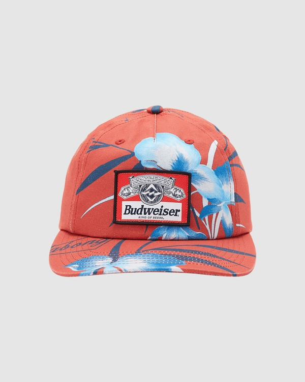 0 Budweiser Vacay Snapback Hat Red 9613331 Billabong