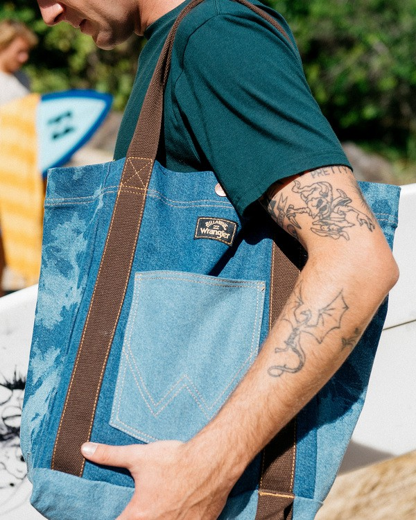 0 Wrangler Hemp Denim Tote Bag Blue 9613506 Billabong