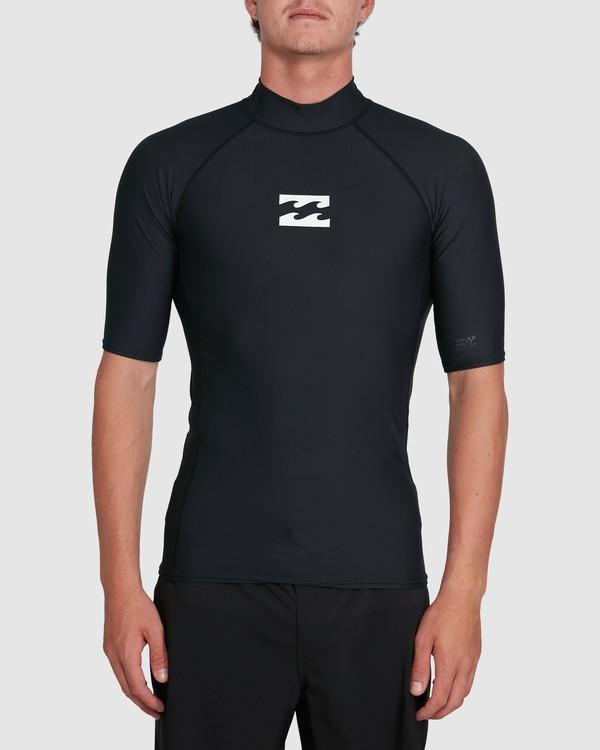 0 All Day Wave Performance Fit Short Sleeve Rash Vest Black 9703502 Billabong