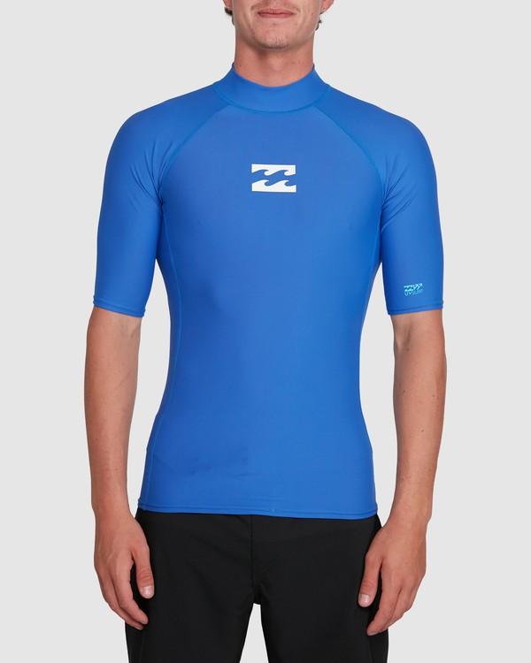 0 All Day Wave Performance Fit Short Sleeve Rash Vest Blue 9703502 Billabong