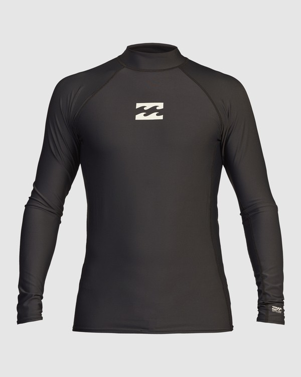0 All Day Wave Performance Fit Long Sleeve Rashguard Black 9713016 Billabong