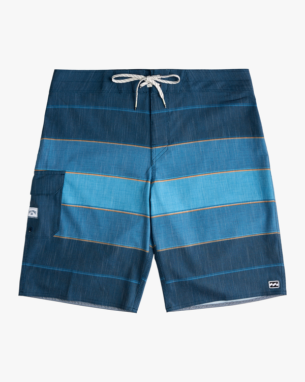 "0 Boys' All Day Heather Stripe Pro Boardshorts 18"" Blue ABBBS00106 Billabong"