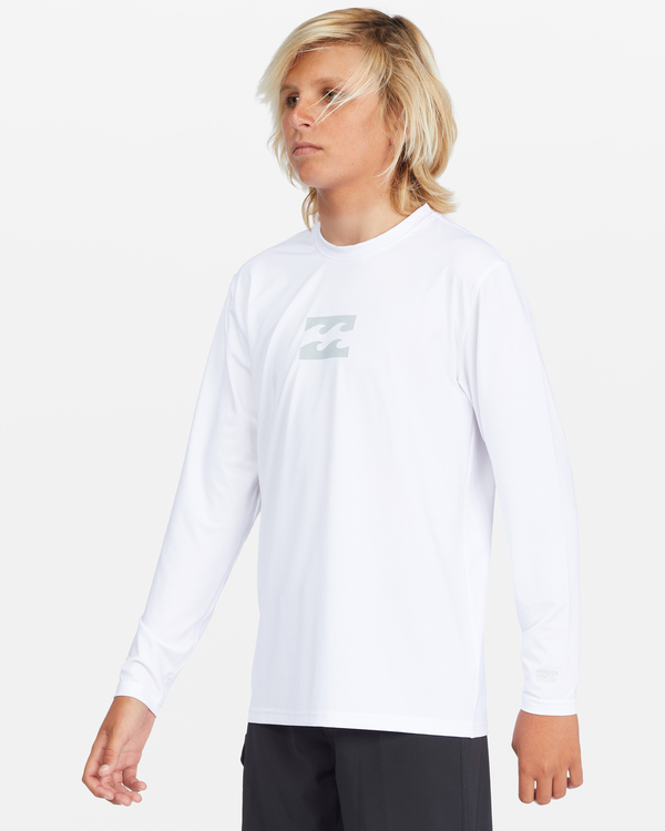0 Boys' All Day Wave Loose Fit Long Sleeve Rashguard White ABBWR00105 Billabong