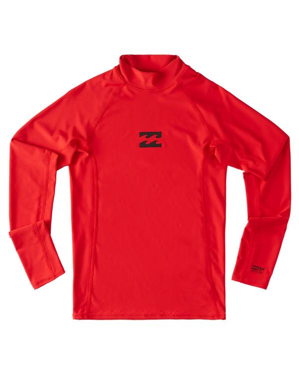 0 Boys 8-16 All Day Wave Performance Fit Rash Vest Red ABBWR00108 Billabong