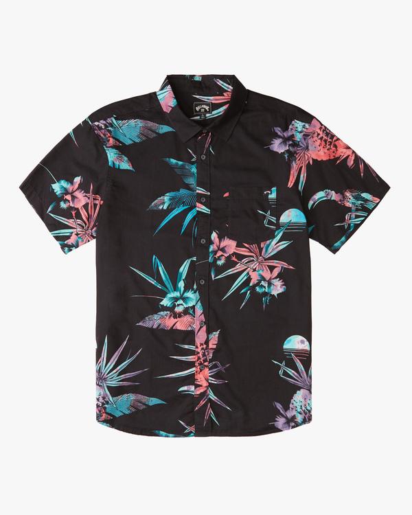 0 Boys' Sundays Floral Short Sleeve Shirt Blue ABBWT00104 Billabong