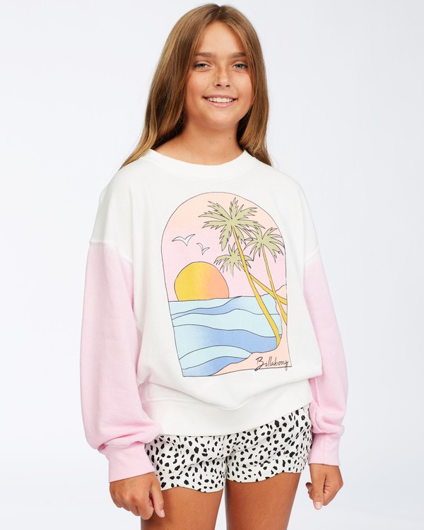 0 Girls' Paradise Pullover Sweatshirt White ABGFT00128 Billabong
