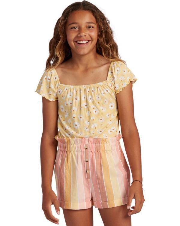 0 Girl's It's All Daisy Top Yellow ABGKT00127 Billabong
