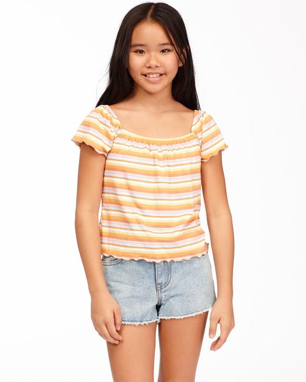 0 Girls' Its All Stripes Top Yellow ABGKT00138 Billabong