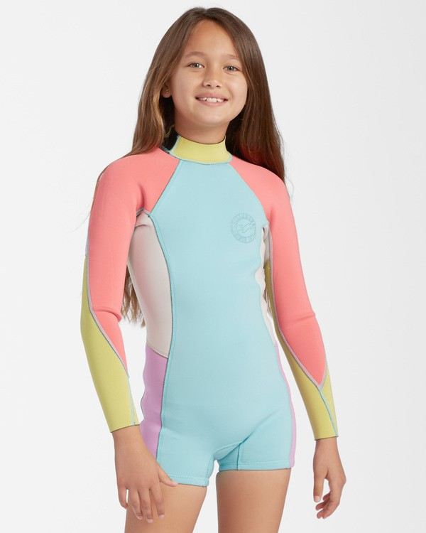 0 1mm Girls' Spring Fever Spring Wetsuit Blue ABGW400100 Billabong