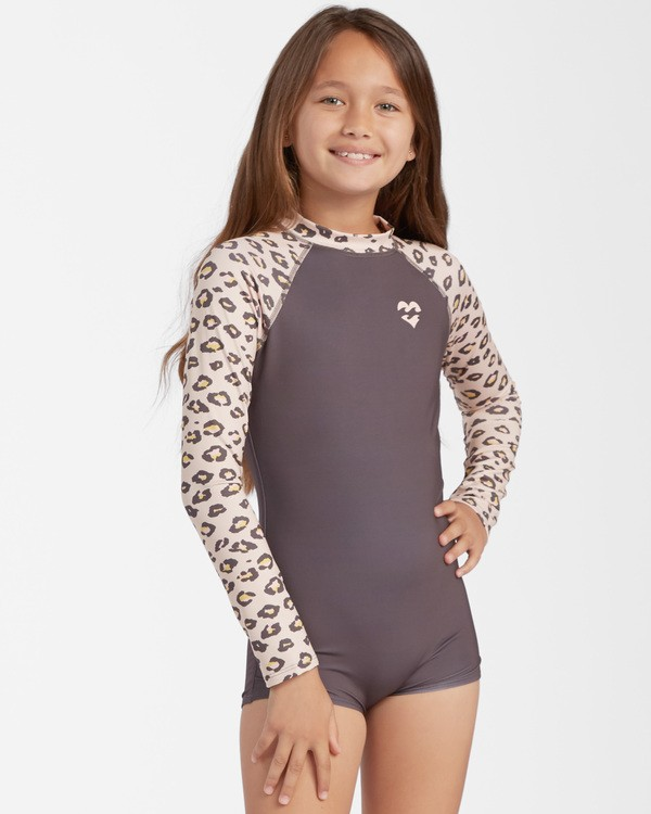 0 Girls' Core Long Sleeve Swimsuit Beige ABGWR00104 Billabong
