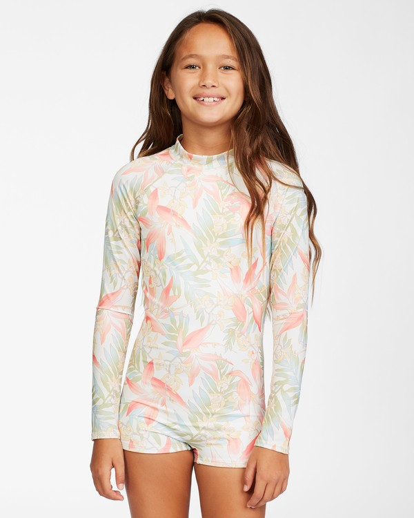 0 Girl's Lil Love Palms Long Sleeve Swimsuit Grey ABGWR00111 Billabong