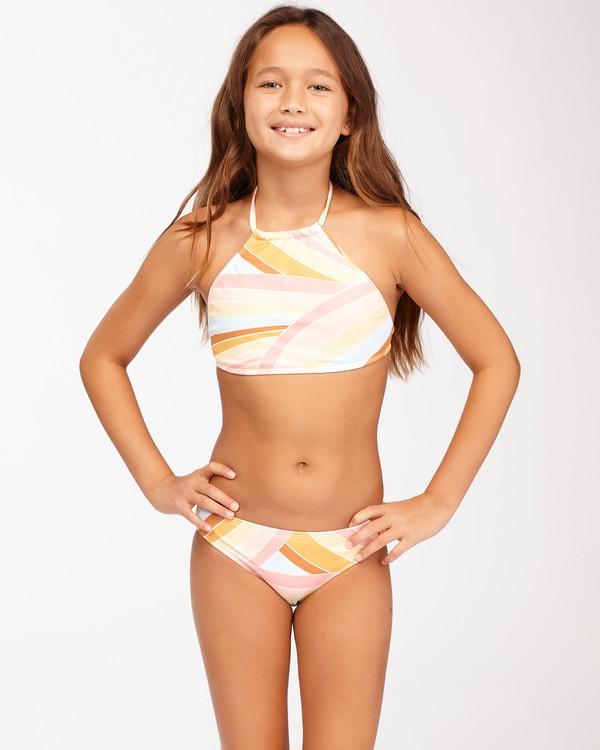 0 Girls' Sea Of Gold High Neck Bikini Set Grey ABGX200128 Billabong