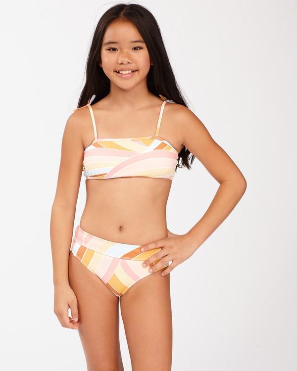 0 Girls' Sea Of Gold Strappy Tank Bikini Set Grey ABGX200129 Billabong
